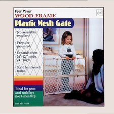 <strong>Four Paws</strong> Wood Frame with Plastic Mesh Pet Gate