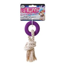 "4"" Lil Ruffs Puppy Ring and Knot Rope Dog Toy"