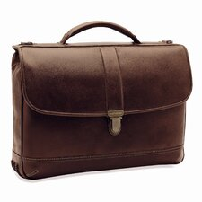 <strong>Johnston & Murphy</strong> Dividends Slimline Leather Laptop Briefcase