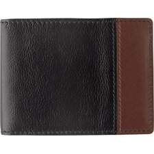 <strong>Johnston & Murphy</strong> Dividends Super Slim Wallet in Black and Dark Mahogany Waxhide