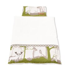 """Bett- und Kopfkissenbezug """"Waldgeflüster"""" mit aufwendigen Stickereien"""