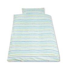 Bett- und Kopfkissenbezug in Blau / Grün mit Streifen