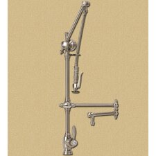 "<strong>Waterstone</strong> Towson Gantry 12"" Two Handle Single Hole Pot Filler Kitchen Faucet with Pre-Rinse Spray"