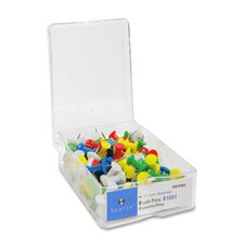 "Push Pins, 3/8"" Point, 1/2"" Heads, 100 per Box"