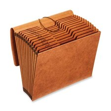 "Accordion File, w/Flap, Jan-Dec, 12 Pocket, Letter, 12""x10"", Brown"
