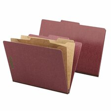 Classification Folder, Two-Pocket, 2/5 Cut, Legal, 10/BX, Red