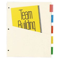 "Ring Binder Dividers, w/ Pocket, 7 pt., 5-Tab, 11""x9"""