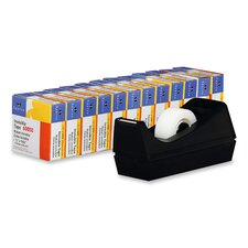 "Tape, w/ Dispenser, 3/4""x1000"", 12/PK, Black"