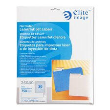 "Filing Labels, Laser/Inkjet, 2/3""x3-7/16"", 750/PK, Assorted"