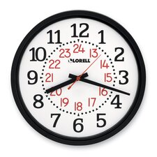 "Military Wall Clock, 14-3/4"", 12/24 Hour, WE Dial/BK Frame"