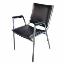Lorell Plastic Arm Stacking Chairs, Black