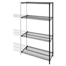 "Industrial Wire Shelving Add-On-Unit, 48"" x 24"", Black"