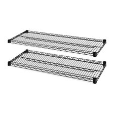 "<strong>Lorell</strong> 2-Extra Industrial Wire Shelves, 48"" x 18"", Black"