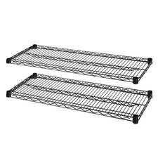 "2-Extra Industrial Wire Shelves, 36"" x 24"", Black"