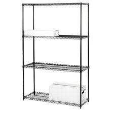 "4-Tier Industrial Wire Shelving Starter Unit, 36"" x 18"" x 72"", Black"