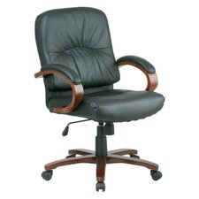 Mid-Back Leather Lorell Woodbridge Series Managerial Chair