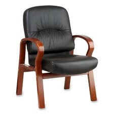 Lorell Woodbridge Series Leather Guest Chairs, Black