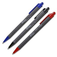 Rubber Barrel Retractable Ballpoint Pens, Medium Point, Dozen