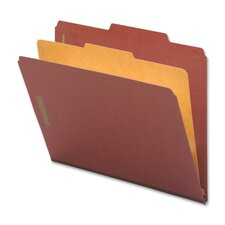 Classification Folders, Legal, 1 Partition, 10/BX, Red