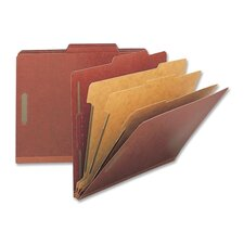 Classification Folders, Legal, 3 Partitions, 10/BX, Red