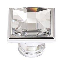 "Swarovski Crystal 1.25"" Square Knob I"