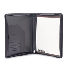 Capital Leather Zip Executive Writing Folio in Black