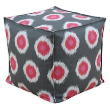 Ikat Domino Seamed Beads Hassock Ottoman