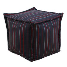 Multi Stripe Square Beaded Hassock with Flange