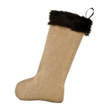 Burlap with Taline Fur Band Christmas Stocking