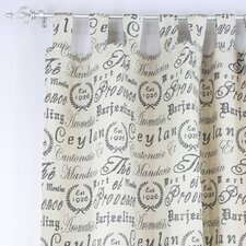Black Tea House Tab Top Curtain Single Panel
