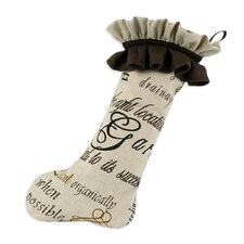 Linen Natural Trimmed Stocking