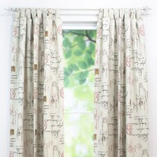 <strong>Chooty & Co</strong> Postale Cotton Tab Top Curtain Single Panel