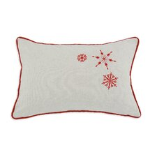Linen Natural Snowflakes Embroidered Pillow