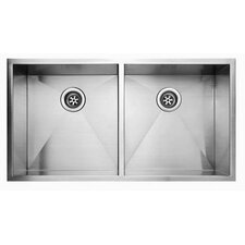 "36.94"" x 20.06"" Undermount Double Bowl Kitchen Sink"
