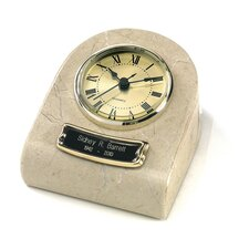 Clock Tower Deluxe Desktop Natural Marble Keepsake in Cream