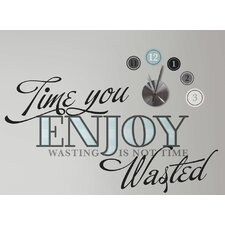 Deco Time You Enjoy Peel and Stick Quote Wall Clock