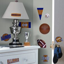 Collegiate Sports 24 Piece Appliqué University of Illinois Wall Decal Set