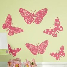 <strong>Room Mates</strong> Room Mates Deco Flocked Pink Butterfly Wall Decal