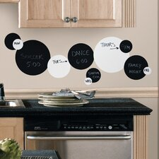 Room Mates 31 Piece Deco Chalkboard and Dry Erase Dots Wall Decal in Black / White Set