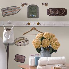 Room Mates 26 Piece Deco Country Signs Wall Decal Set