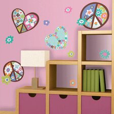 <strong>Room Mates</strong> Room Mates Deco Heart and Peace Sign Wall Decal
