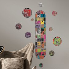 <strong>Room Mates</strong> Art of Board Skateboard and Dots Giant Wall Decal