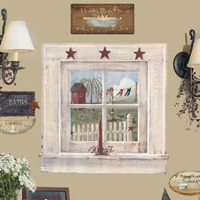9 Piece Peel & Stick Giant Wall Decals/Wall Stickers Outhouse Window and Signs Wall Decal Set