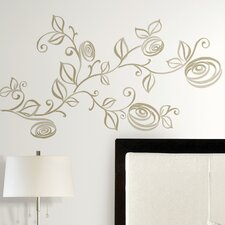 33 Piece Deco Stylized Roses Peel and Stick Wall Decal Set