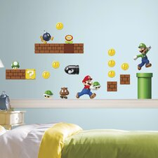 45 Piece Nintendo Super Mario Build a Scene Peel and Stick Wall Decal Set