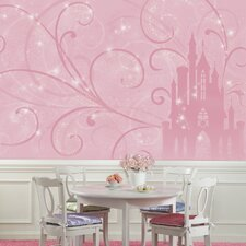 Disney Princess Scroll Castle Chair Rail Prepasted Wall Mural