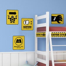 Monsters Inc Caution Signs Giant Wall Decal