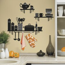 Deco Build a Kitchen Shelf Peel and Stick Giant Wall Decal