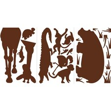 Animal Silhouettes Giant Peel and Stick Wall Sticker in Brown