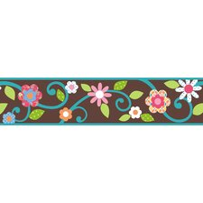 Studio Designs Scroll Floral Wall Border in Brown / Teal
